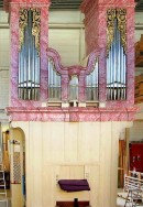 Le grand orgue en restauration chez Mathis. Source: site Mathis, en avril 2016